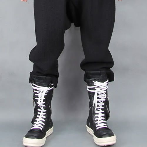 Men Black Leather Lace Up Gothic Punk Combat High Boots SKU-1280178