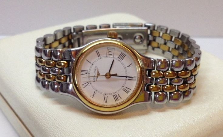 "Longines Ladies Watch Swiss Made Stainless Steel Two Tone Silver Gold 6"" Wrist #Longines"