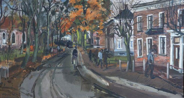 Collectie Kunstkring De Ploeg MOW: Ben Walrecht (Groningen 1911- Hilversum 1980), Dorpsgezicht Bellingwolde, 1943, 36 x 32 cm, gouache