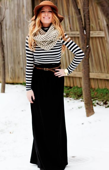 winter maxi skirt, striped top, infinity scarf, and wide brim hat. fall