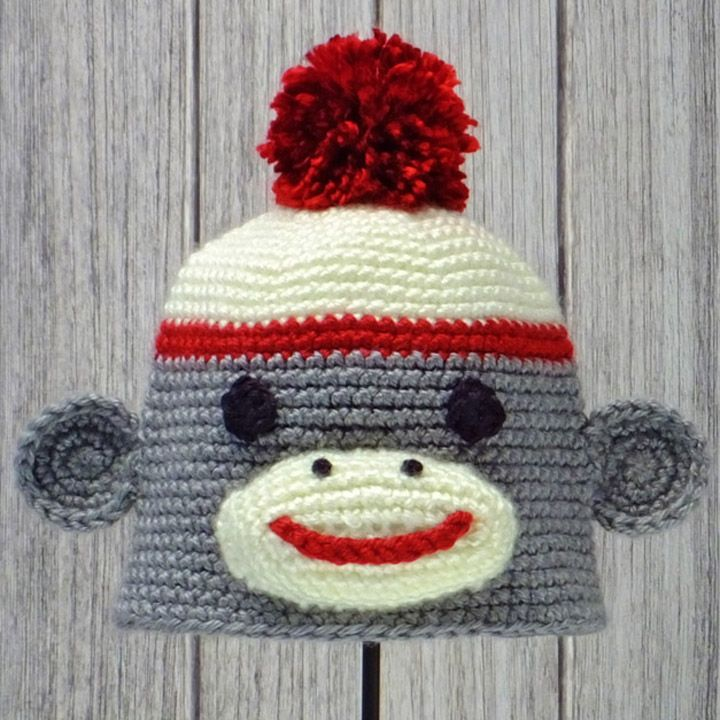 "SOCK MONKEY ~ Crocheted Animal Hat ♦ Pattern in ""Amigurumi Animal Hats"" by Linda Wright. http://amazon.com/dp/098009237X/"