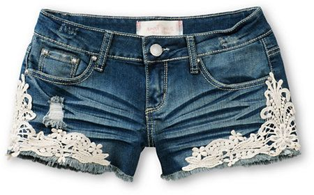 Almost Famous Kara Crochet Medium Wash Denim Shorts at Zumiez : PDP