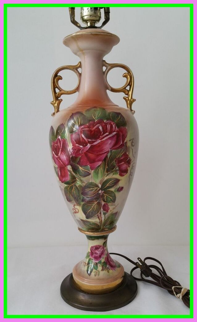 49 Reference Of Vintage Ceramic Floral Lamps In 2020 Vintage Table Lamp Painting Lamps Vintage Ceramic