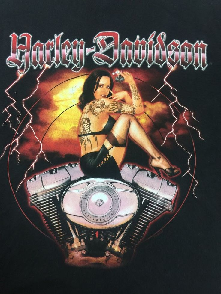 Harley Davidson T Shirt 2XL Pin-Up Girl w/Tattoos Girl Old Glory / Laurel, MD  | eBay