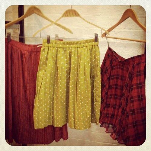 skirts #vintage skirts #vintage fashion #pleats #mustard #polka dots #plaid