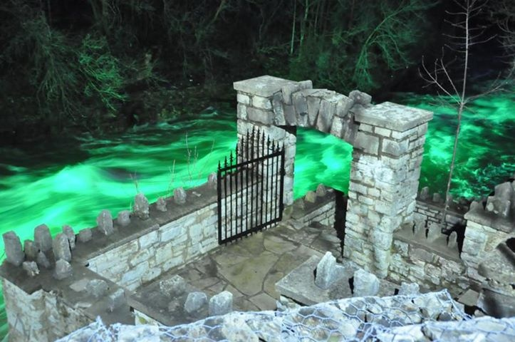 Templin Gardens in Downtown Fergus ... with a fast moving spring river lit up at night!  Very cool !
