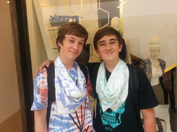 Josh and Tyler Deacon wearing @Merlin   and @sheltercymru scarves! #silkscarf #cupofdaisies #ethical #fashion