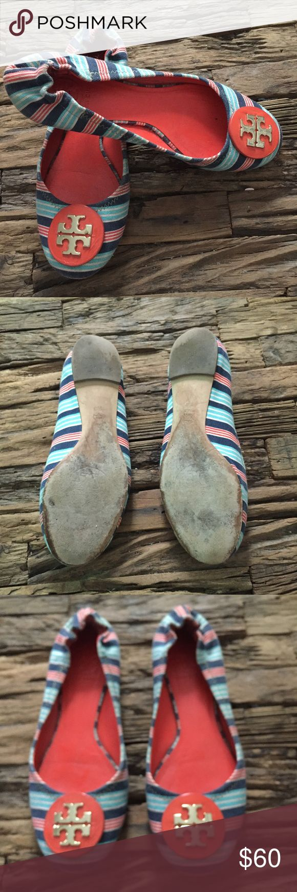 Size 7 Tory Burch Striped Ballet Flats Tory Burch Logo striped ballet flats! Great for spring and summer! Only worn a few times!! Size 7! See pics for details- they're in great shape! Tory Burch Shoes Flats & Loafers