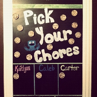 "Weekly Chore Chart on our Magnetic Chalk Board. Each one has a value for the week. ""Pick your paycheck kids""! Chore magnets are made from wood circles with magnets glued to the back and I stamped the chores and values on each one."