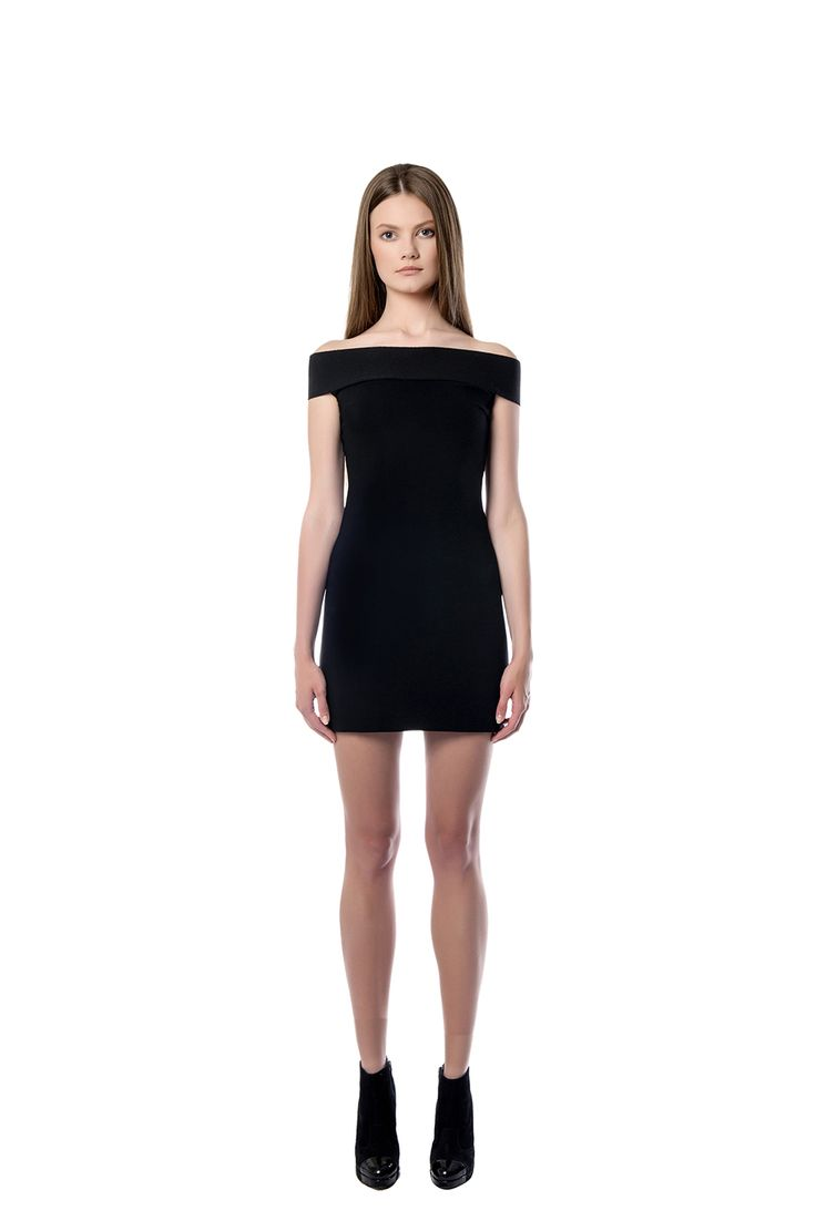 Off shoulder mini dress  This off  shoulder mini dress is boned through your silhouette. The piece is created from black scuba for a flexible fit. Showcase the statement neckline with a strapless bra. Complete the look with metallic high heels.