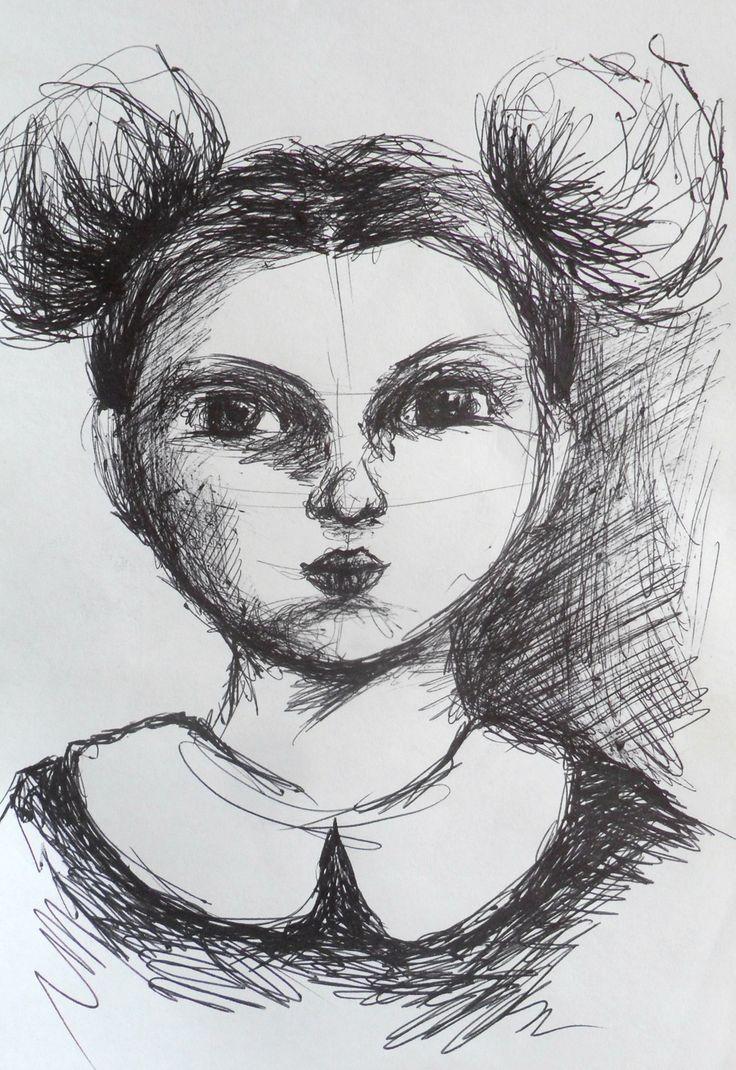 """""""Dziewczynka w białym kołnierzyku"""" - rysunek czarnym cienkopisem"""