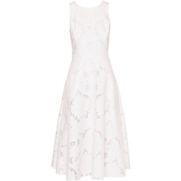 Ted Baker Roshi Burnout Jacquard Midi Dress (£249) ❤ liked on Polyvore featuring dresses, white, women, mid calf dresses, ted baker dresses, white dress, jacquard dress and fit and flare dress