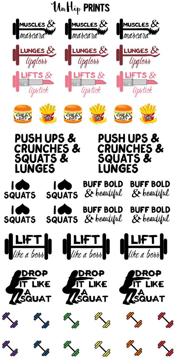 Gym Planner Stickers Dumbbell stickers Weight by UnHipPrints