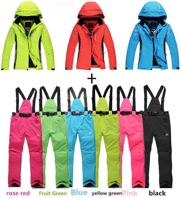 CHEAP pure colors Women/Men Ski Suit Sets outdoor Sports Waterproof&Windproof Snowboard Clothing warm dress Skiing Jackets+pants #Affiliate