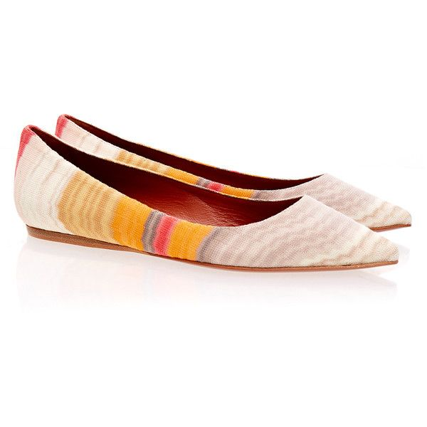 Missoni Crochet-Knit Multi Coloured Ballet Pump ($200) ❤ liked on Polyvore featuring shoes, orange, ballet flat shoes, flat slip on shoes, ballerina shoes, ballet pumps and ballerina flats