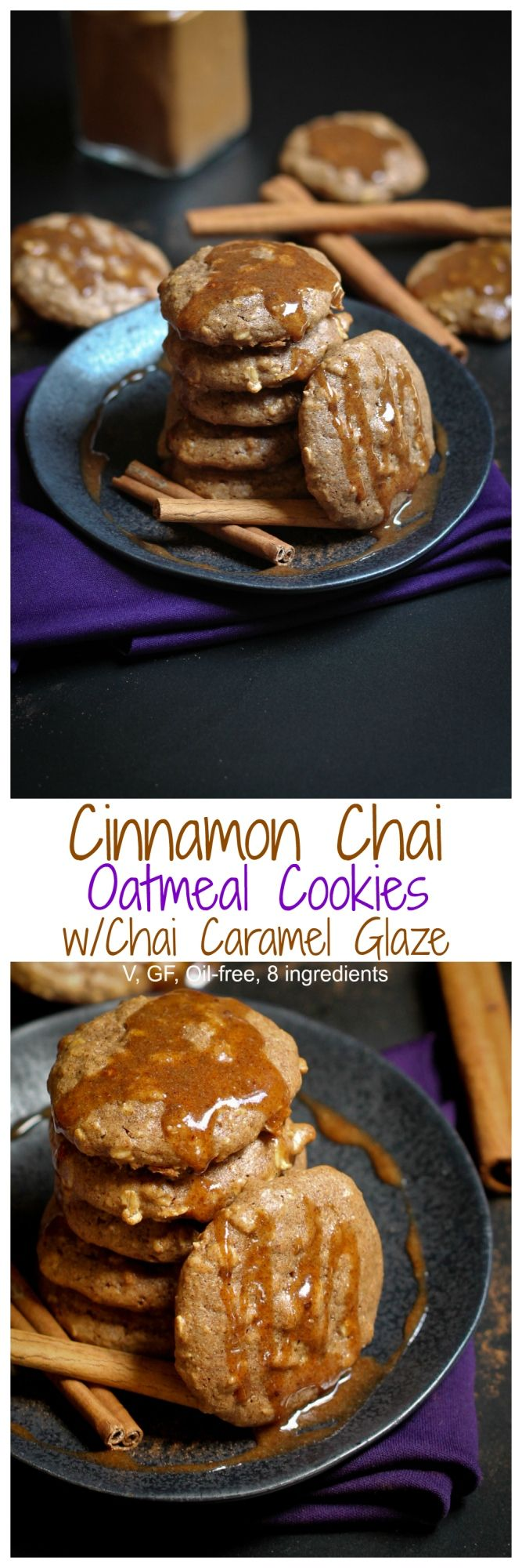 Cinnamon Chai Oatmeal Cookies with Chai Caramel Glaze. To die for and are vegan, gluten-free and oil-free and JUST 7 ingredients (+ tiny amount of water) for the entire recipe! | http://TheVegan8.com | #vegan #cookies #oatmeal #cinnamon #chai #glutenfree #oilfree #dairyfree