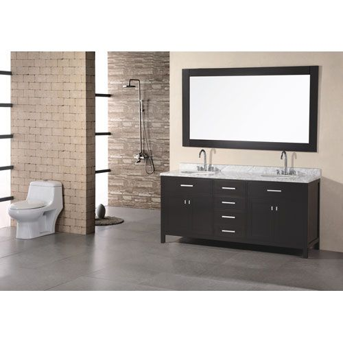 Design Element London Dark Espresso 72 Inch Double Sink
