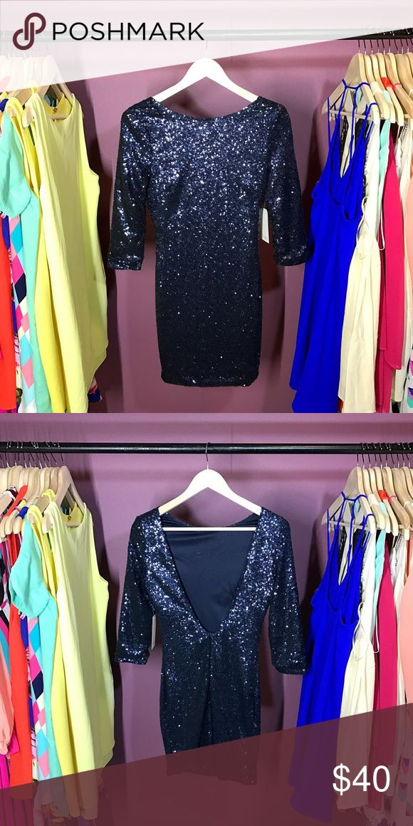 Navy blue sequin dress Navy blue sequin dress with v back Tobi Dresses Mini