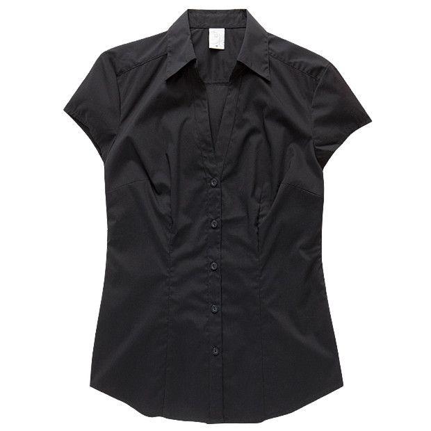 City Dressing Cap Sleeve Shirt - Black