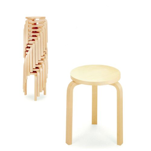 Artek Alvar Aalto - Three-Legged Stool 60 - Birch Veneer. 1932-33. Designed for Viipuri library. Aalto developed the bent L-shaped leg to achieve his ultimate design aesthetic which mixed art and nature with technology.