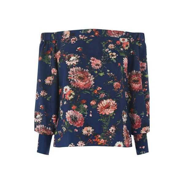 Warehouse Painted Floral Bardot Top (£32) ❤ liked on Polyvore featuring tops, sweaters, blue pattern, blue floral top, flower print tops, blue top, floral tops and patterned tops