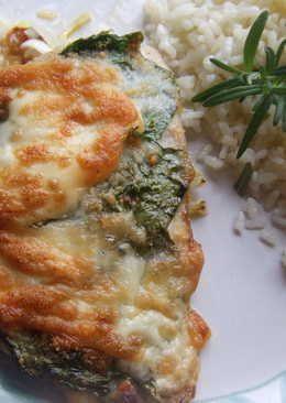 Filete de perca al horno con espinacas y queso