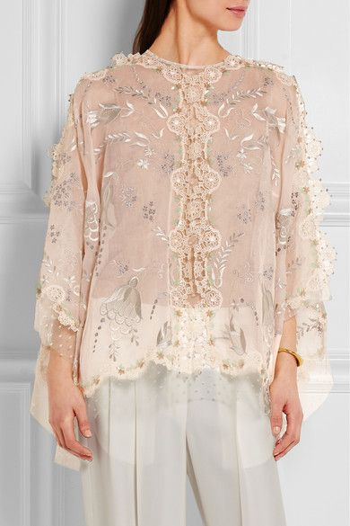 Beige silk-organza, lace and point d'esprit Button-fastening keyhole at back  Fabric1: 100% silk; fabric2: 75% cotton, 25% polyamide; embroidery: 100% viscose; lining: 100% silk  Dry clean