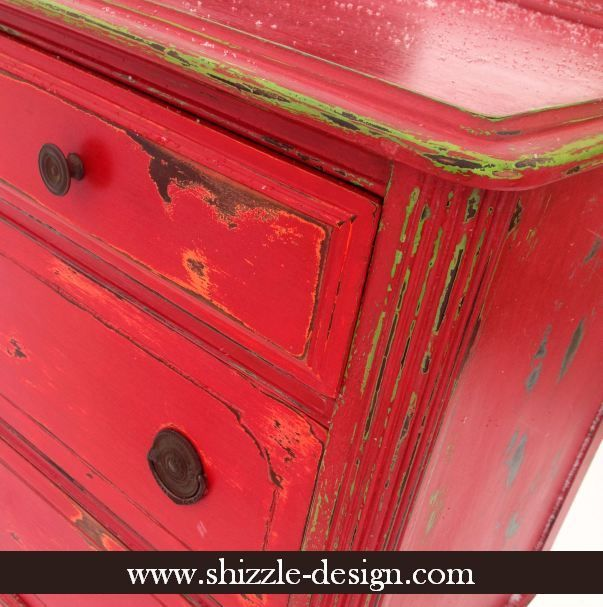 Fireworks Red Shizzle Design Paint Studio #American Paint Company highboy blue green red chalk clay dresser best ideas tips layering shabby f...