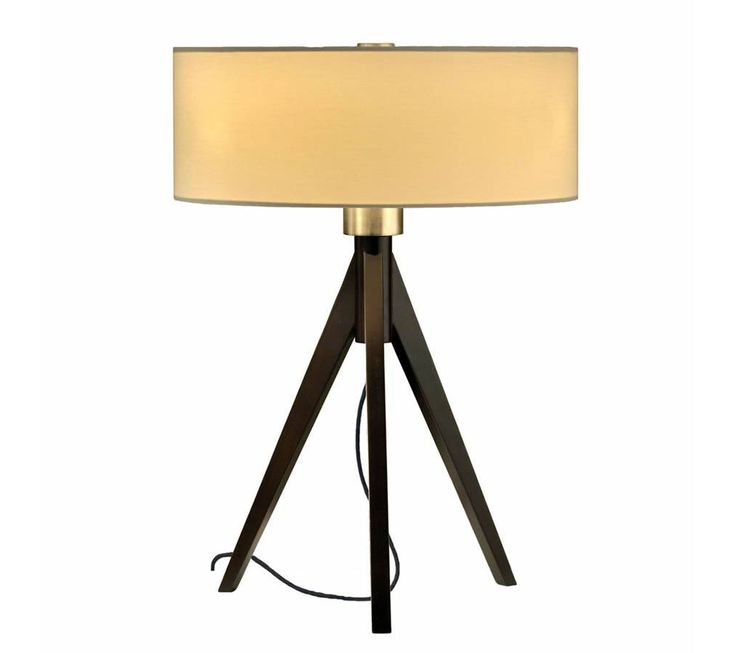 tripod table lamp with white linen drum shade