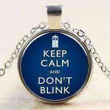 Doctor Who Keep Calm and Don't Blink Glass Necklace