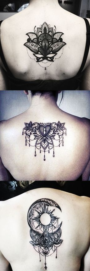 Lace Tattoos Ideas for Women - Spine Back Lotus Tat - Sun Moon Chandelier Black Henna at MyBodiArt.com