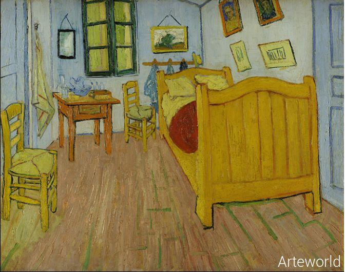 Storia e descrizione della camera da letto, un quadro dipinto da Vincent Van Gogh nel1888 e conservato al Rijksmuseum Vincent Van Gogh, Amsterdam.