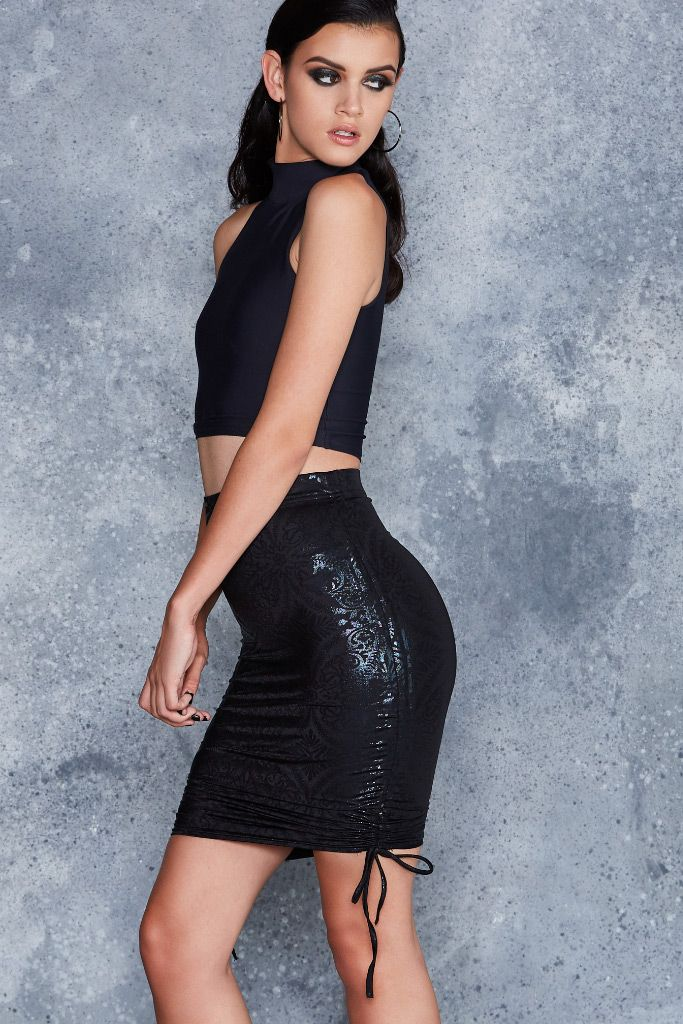 Geometric Floral Strung Up Pencil Skirt - LIMITED ($70AUD) by BlackMilk Clothing
