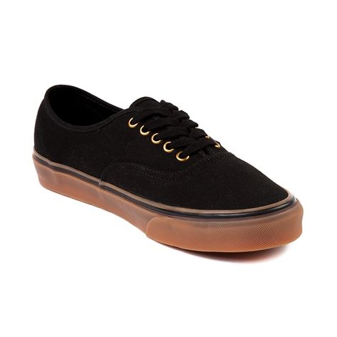 Shop for Vans Authentic Skate Shoe in Black Gum at Journeys Shoes. Shop today for the hottest brands in mens shoes and womens shoes at Journeys.com.The Authentic from Vans is always in style. Comin to you featuring a black canvas upper with lace closure, gold accent eyelets, and gum rubber waffle tread outsole.