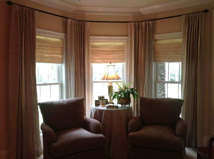 Corner Window Curtain Rods Make Home Looks Beautiful : Modern Armchairs With Table Lamp And Bay Window Curtain Rod Plus Crown Molding Inside Mount Corner Window Curtain Rods