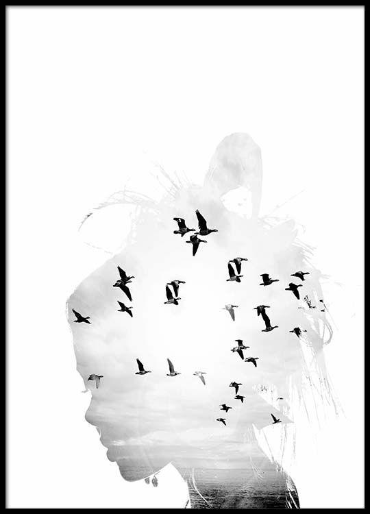 Mädchen Silhouette Plakat