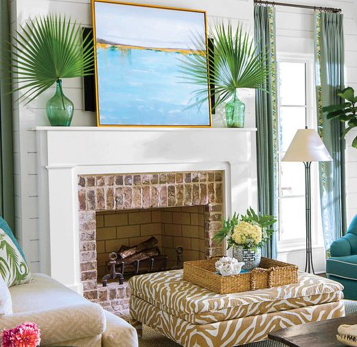 Coastal Summer Mantel with Large Art & Palm Fronds