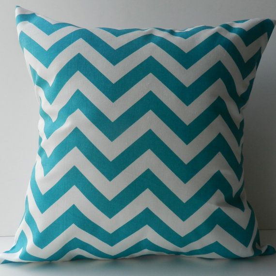 New 18x18 inch Designer Handmade Pillow Case in aqua chevron pattern.