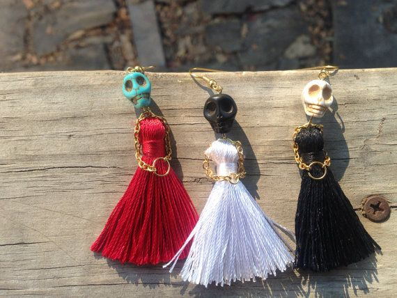 Dress to Kill Sugar Skull Earrings with a by WildCageDesigns