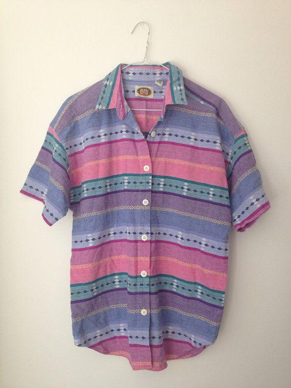 Vintage Mens Aztec Button Up