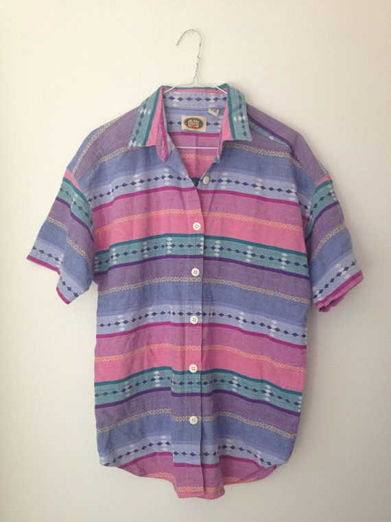 Vintage Mens Aztec Button Up