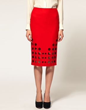 Pencil Skirt With Laser Cut Detail