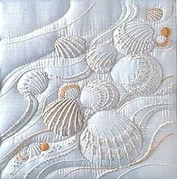 shells on white fabric (embroidery, trapunto)