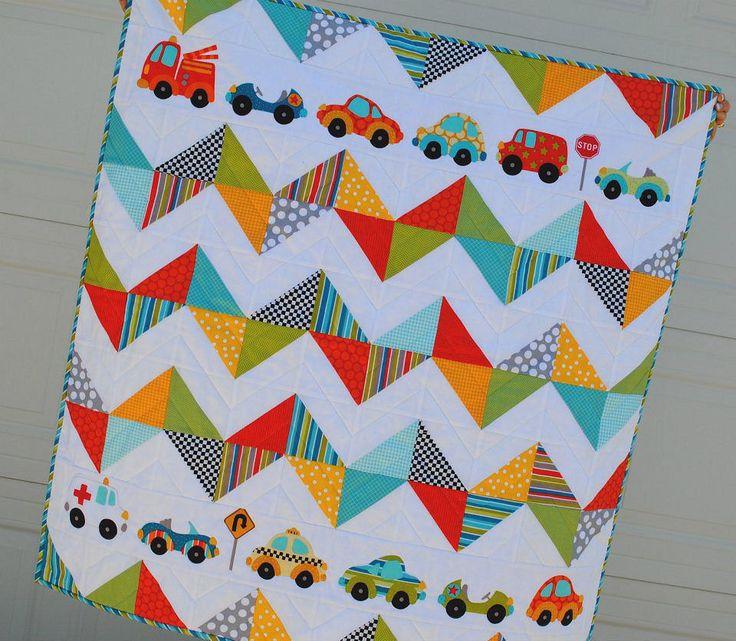 Chevron Cars Quilt Kit featuring Peak Hour Fabrics by  Kellie Wulfsohn for Riley Blake. $32.00, via Etsy.