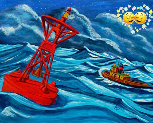 This is an exhilirating scene. The red,gong buoy indicates #that the ship is heading out to sea though a #storm is raging and the sea state is at seven on the Bea...