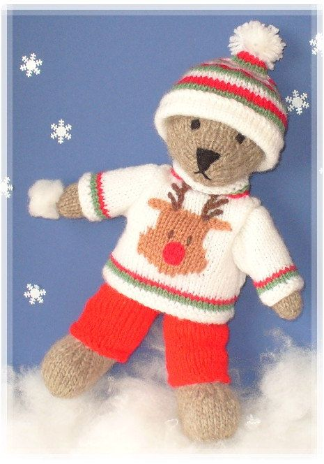 winter teddy bear with christmas sweater clothes  PDF email knitting pattern