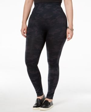 Now in a can't-miss-it camo pattern, Spanx's essential plus-size leggings slim, firm and smooth seamlessly from high waist to ankles. | Nylon/spandex | Hand wash | Imported | Wide, double-layer waistb