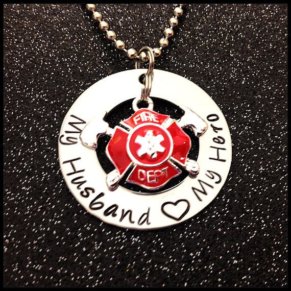 Great Gifts For Wife Part - 43: Hand Stamped Washer Necklace Fire Fighter My Husband My Hero Hand Great Gift  For Wife Or