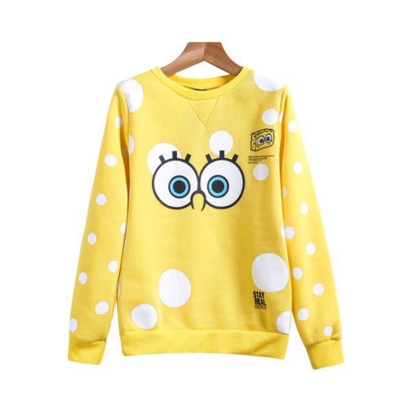 Yellow Long Sleeve SpongeBob Print Sweatshirt ($12) ❤ liked on Polyvore featuring tops, hoodies, sweatshirts, yellow long sleeve top, print top, yellow top, print sweatshirt and yellow sweatshirt