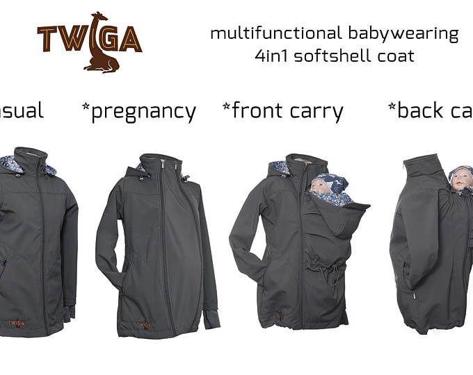 Babywearing bella giacca softshell con cappuccio - grigio. Bambino e madre, 4 in 1, bambino che trasportano cappotto grigio